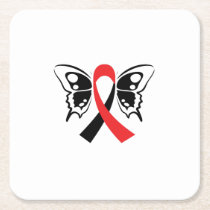 Head and Neck Cancer Awareness Ribbon Butterfly Square Paper Coaster