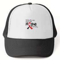 Head and Neck Cancer Awareness Ribbon Butterfly Trucker Hat