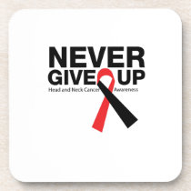 Head and Neck Cancer Awareness Ribbon Fighting Beverage Coaster