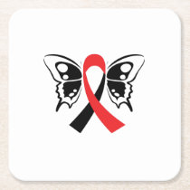 Head and Neck Cancer Awareness Ribbon Fighting Square Paper Coaster