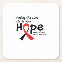 Head and Neck Cancer Awareness Ribbon Hopes Square Paper Coaster