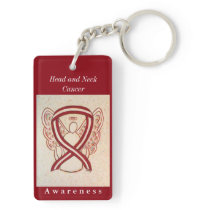 Head and Neck Cancer Awareness Ribbon Keychain