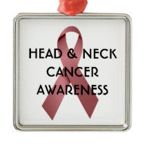 Head and Neck Cancer Awareness Ribbon Metal Ornament