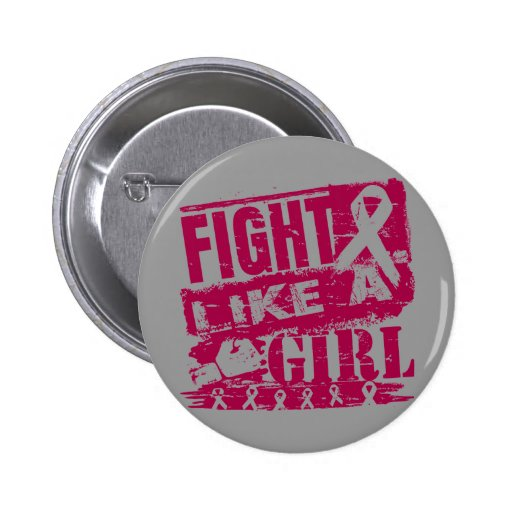 Head and Neck Cancer BurnOut Fight Like a Girl Pinback Buttons
