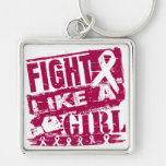Head and Neck Cancer BurnOut Fight Like a Girl Keychain
