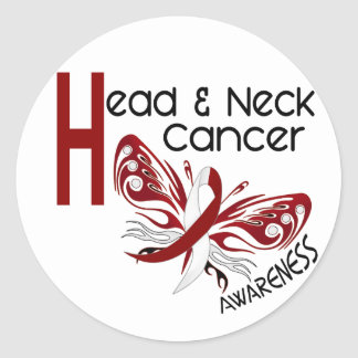 Head and Neck Cancer BUTTERFLY 3.1 Classic Round Sticker