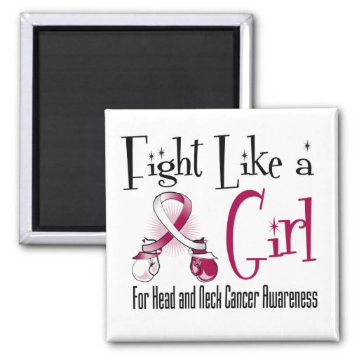 Head and Neck Cancer Cool Retro Fight Like a Girl Magnets