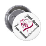 Head and Neck Cancer Faith Hope Love Butterfly Pinback Buttons