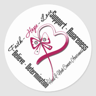 Head and Neck Cancer Faith Hope Love Butterfly Classic Round Sticker