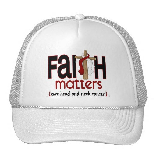 Head and Neck Cancer Faith Matters Cross 1 Trucker Hats