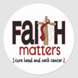 Head and Neck Cancer Faith Matters Cross 1 Round Sticker
