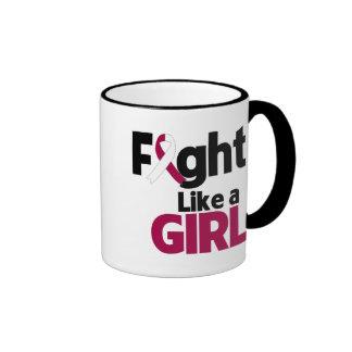 Head and Neck Cancer Fight Like a Girl Coffee Mugs