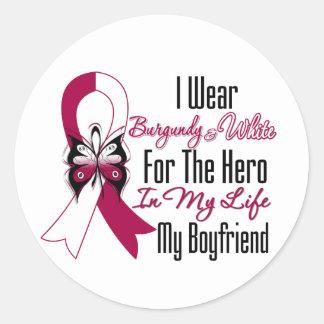 Head and Neck Cancer Hero My Boyfriend Classic Round Sticker