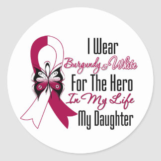 Head and Neck Cancer Hero My Daughter Classic Round Sticker