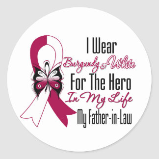 Head and Neck Cancer Hero My Father in Law Classic Round Sticker