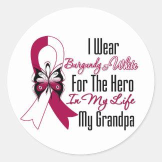 Head and Neck Cancer Hero My Grandpa Round Stickers