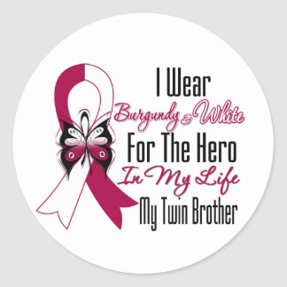 Head and Neck Cancer Hero My Twin Brother Classic Round Sticker