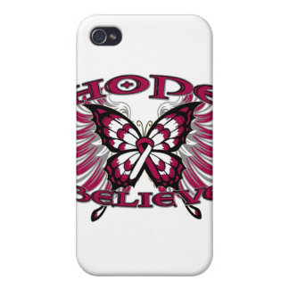 Head and Neck Cancer Hope Believe Butterfly iPhone 4 Cases