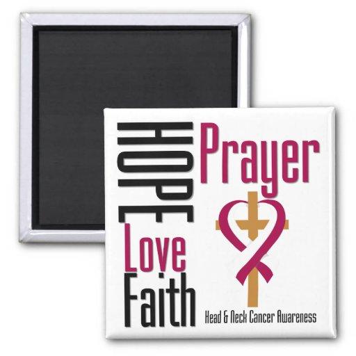Head and Neck Cancer Hope Love Faith Prayer Cross Magnets