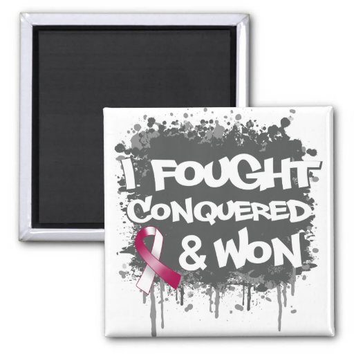 Head and Neck Cancer I Fought Conquered Won Fridge Magnets