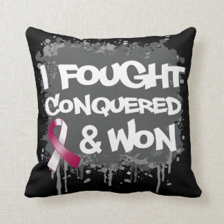 Head and Neck Cancer I Fought Conquered Won Throw Pillow