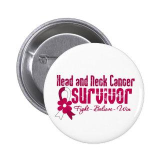 Head and Neck Cancer Survivor Flower Ribbon 2 Inch Round Button