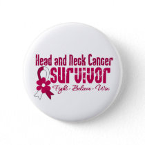 Head and Neck Cancer Survivor Flower Ribbon Pinback Button