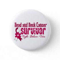 Head and Neck Cancer Survivor Flower Ribbon Pinback Button