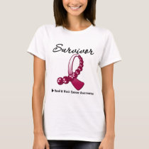 Head and Neck Cancer Survivor Gemstone Ribbon T-Shirt