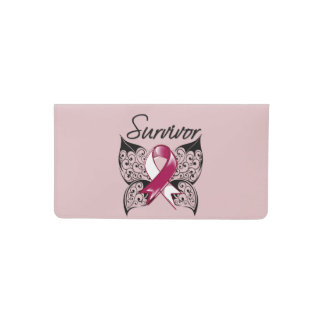 Head and Neck Cancer Survivor Ribbon Butterfly Checkbook Cover