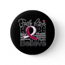 Head and Neck Cancer Typographic Faith Love Hope Button