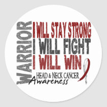 Head And Neck Cancer Warrior Classic Round Sticker
