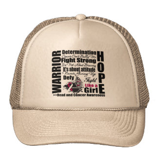 Head and Neck Cancer Warrior Fight Slogans Hats