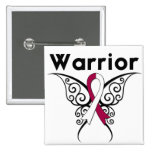 Head and Neck Cancer Warrior Tribal Butterfly Pinback Buttons