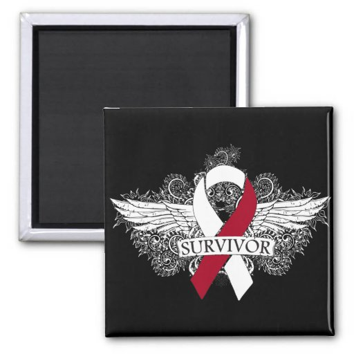 Head and Neck Cancer Winged SURVIVOR Ribbon Refrigerator Magnet