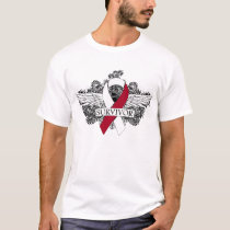 Head and Neck Cancer Winged SURVIVOR Ribbon T-Shirt