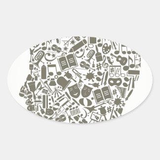 Head art oval sticker