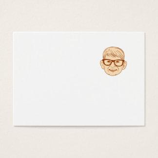 Head Caucasian Boy Smiling Big Glasses Drawing Business Card