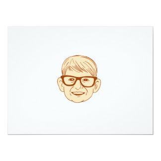 Head Caucasian Boy Smiling Big Glasses Drawing Card