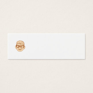 Head Caucasian Boy Smiling Big Glasses Drawing Mini Business Card