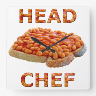 Head Chef Beans on Toast Square Wall Clock
