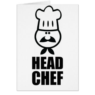 Head chef face & hat black design card