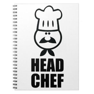 Head chef face & hat black design notebook