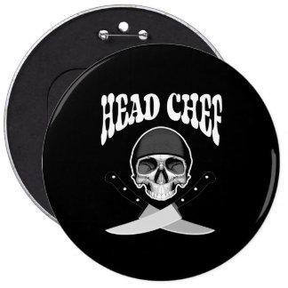 Head Chef Skull (b&w) Pin