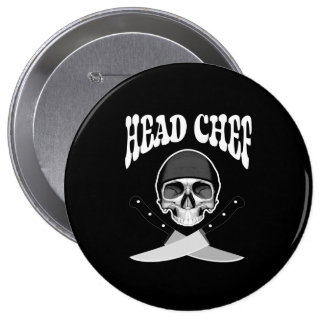 Head Chef Skull (b&w) Pinback Buttons