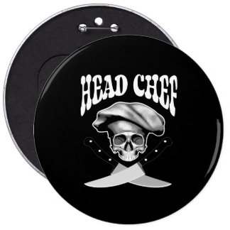 Head Chef Skull V2 Pinback Button