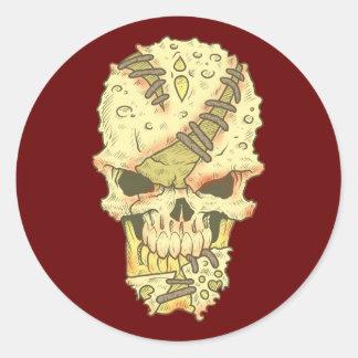 head disintegrating skull rot skull classic round sticker