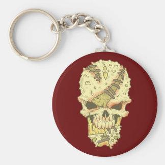 head disintegrating skull rot skull keychain