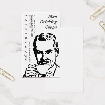 coffeepunch Head Drinking Line Art Morning Cuppa Business Card