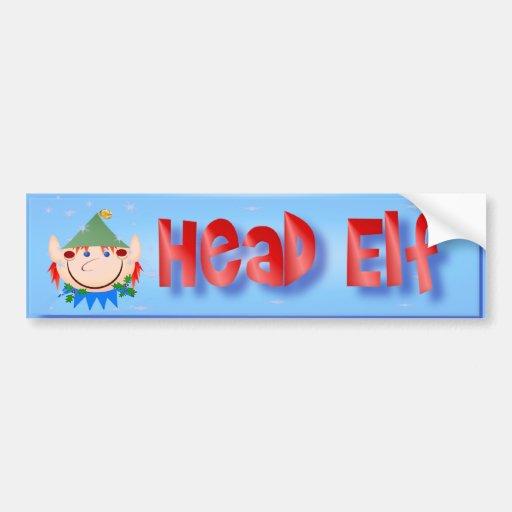 Head Elf Bumper Sticker Car Bumper Sticker